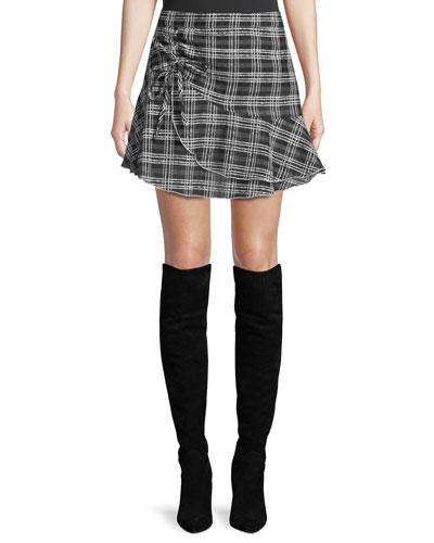 Chris Flounce Check Mini Skirt