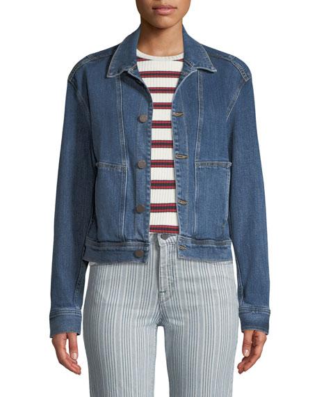 Denim Utility Jacket in Medium Blue
