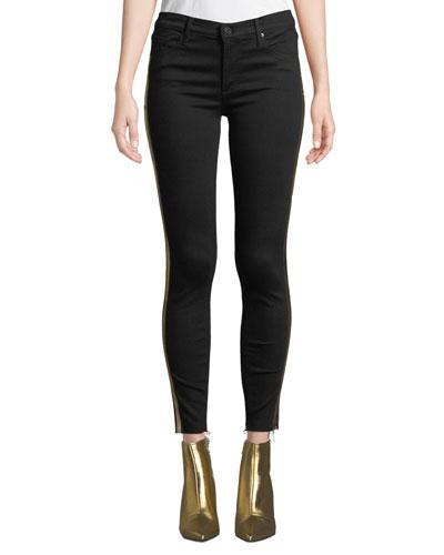 Noah Ankle Fray Skinny Jeans w/ Gold Racer Stripes