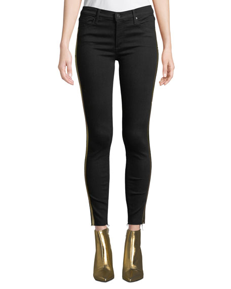BLACK ORCHID Noah Ankle Fray Skinny Jeans W/ Gold Racer Stripes in Black Pattern