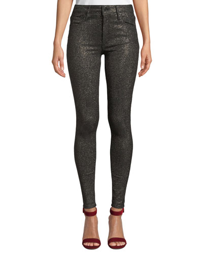 Jude Mid-Rise Metallic Ankle Skinny Jeans