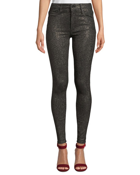 BLACK ORCHID Jude Mid-Rise Metallic Ankle Skinny Jeans in Black