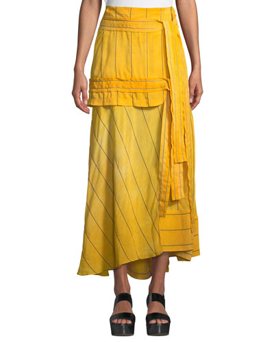 Striped Tie-Front Maxi Skirt
