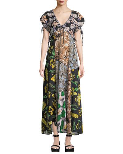 Silk Patchwork Long Dress
