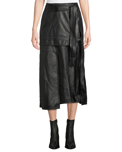 Leather Patchwork Skirt with Front TIe