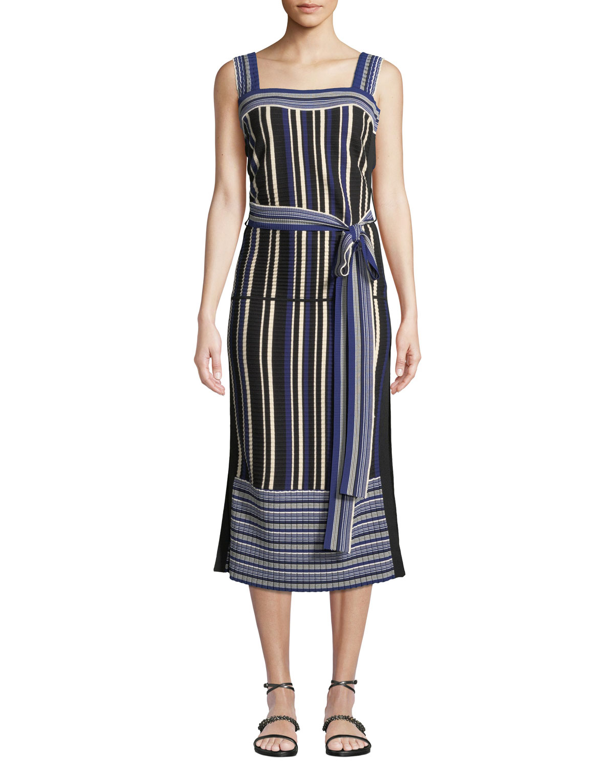 10e03b8d4b0d 3.1 Phillip Lim Striped Tie-Front Sleeveless Midi Dress