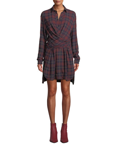Felicity Plaid Wrap-Front Long-Sleeve Shirtdress