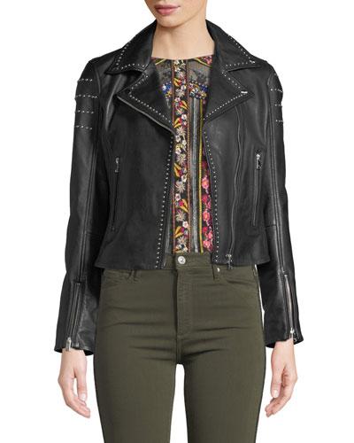 Loni Studded Leather Cropped Moto Jacket