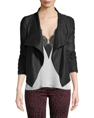 Brenda Textured-Sleeve Asymmetric Leather Jacket