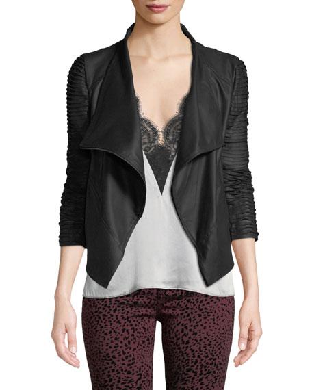 LaMarque Brenda Textured-Sleeve Asymmetric Leather Jacket