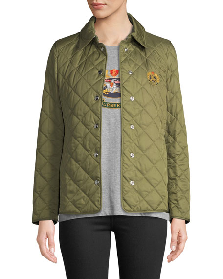 Burberry Franwell Embroidered Crest Quilted Jacket