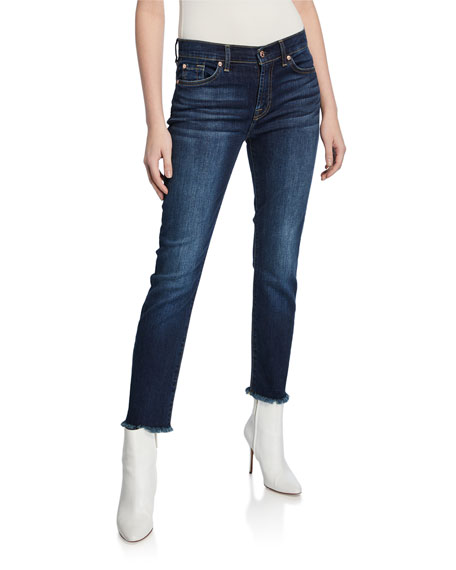 7 for all mankind Roxanne Straight-Leg Ankle Fray-Hem