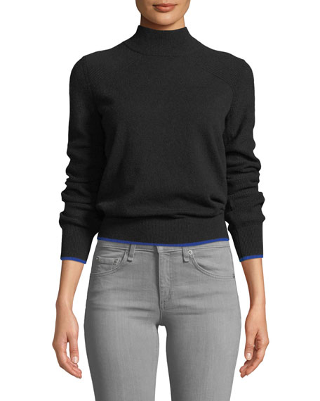 Rag & Bone Yorke Turtleneck Mesh-Stitch Sleeves Cashmere