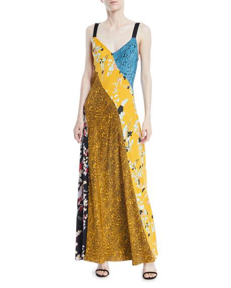 Diane von Furstenberg Sleeveless Paneled Lily-Print Silk Maxi