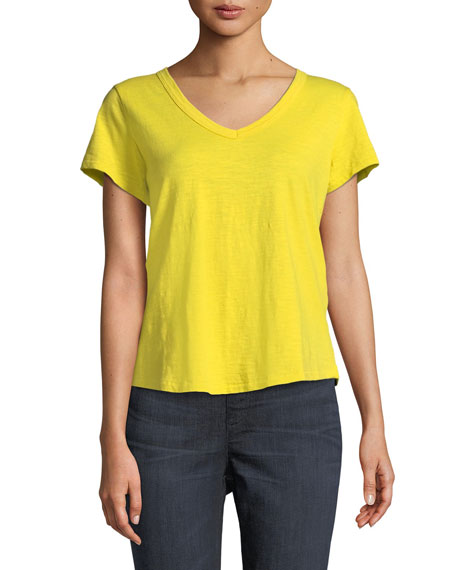 Eileen Fisher Short-Sleeve Organic Cotton V-Neck Shirttail Tee,