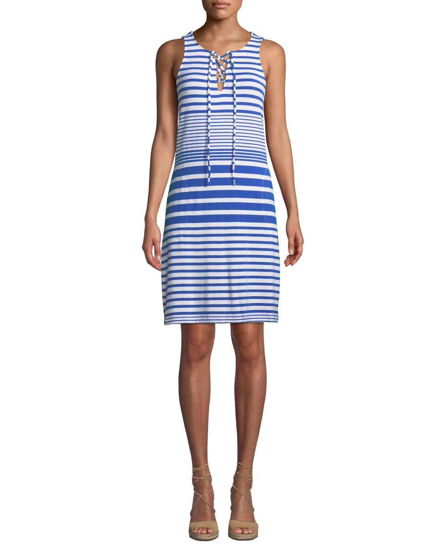 Beach Gl Striped Lace Up Coverup Dress