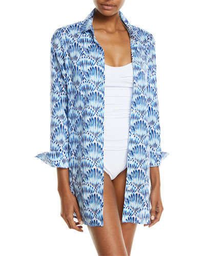 Tie-Dye Seashell Long-Sleeve Coverup Shirt