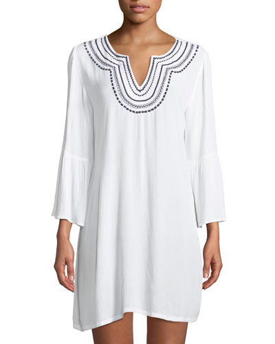 Embroidered Bell-Sleeve Tunic Coverup