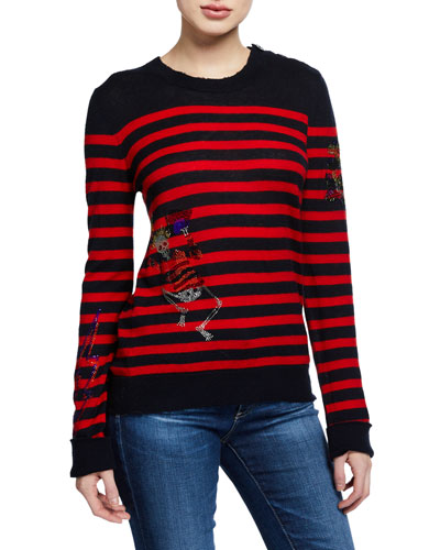 Delly Striped Embellished Cashmere Sweater