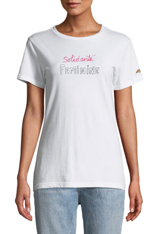 Bella Freud Solidarite Feminine Graphic Crewneck Tee
