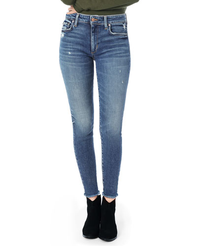 The Charlie Ankle Frayed-Hem Skinny Jeans