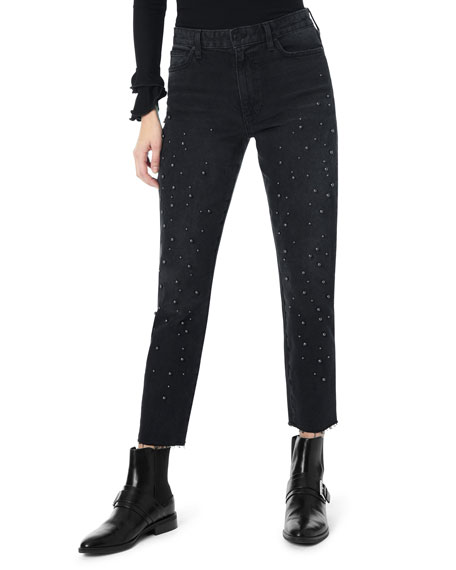 JOE'S JEANS The Smith Imitation Pearl Embellished Ankle Boyfriend Jeans in Lillith