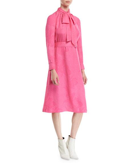 Brielle Tie-Neck Floral Cloque Silk Dress in Crazy Pink