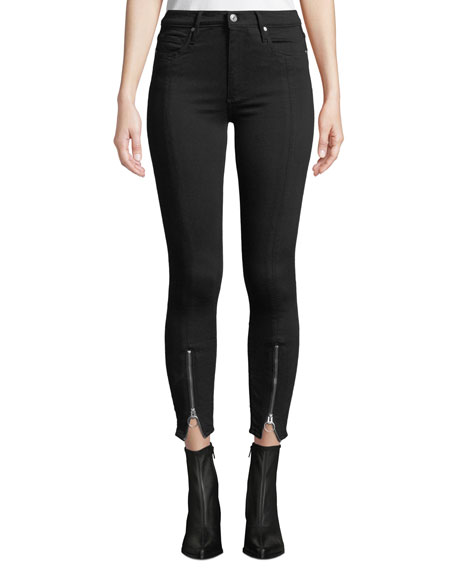 Nola Zip-Hem Skinny Jeans in Black