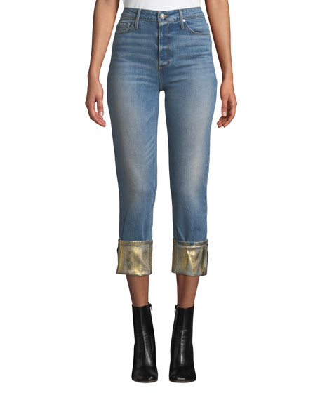 BLACK ORCHID Taylor High-Rise Straight-Leg Jeans W/ Foiled Hem in Blue/Gold