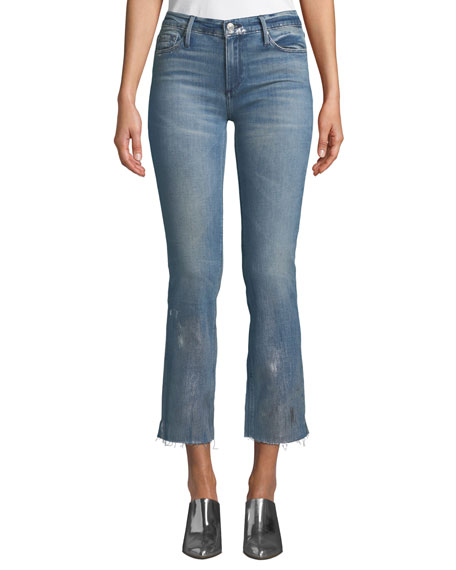 BLACK ORCHID Bardot Mid-Rise Frayed Jeans W/ Foil Details in Medium Blue