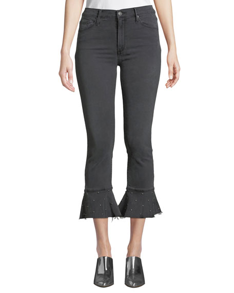 BLACK ORCHID Stella High-Rise Ruffle Frayed Jeans W/ Studded Hem in Dark Gray