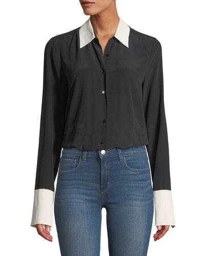 Mia Cuffed Silk Button-Front Blouse
