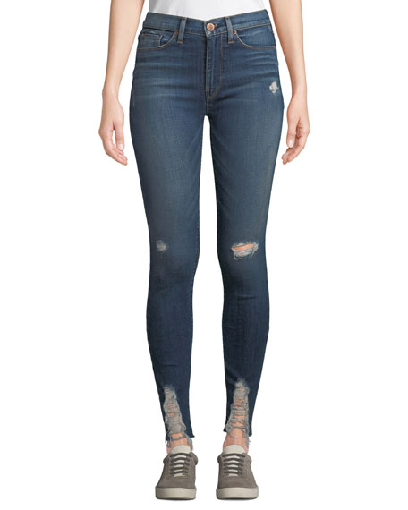 Hudson Barbara High-Waist Super Skinny Destroyed Ankle Jeans