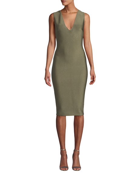 MISHA Solange V-Neck Knitted Bodycon Cocktail Dress in Khaki