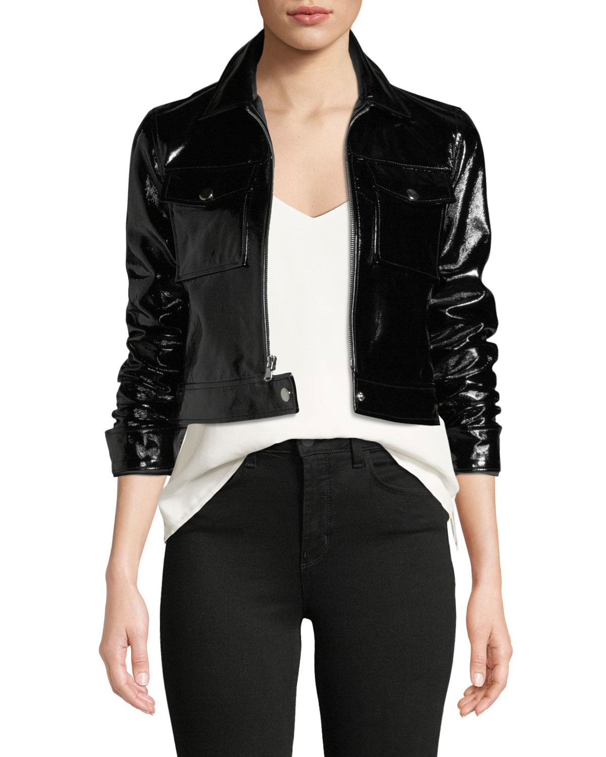 L'Agence Lex Cropped Patent Leather Moto Jacket | Neiman ...