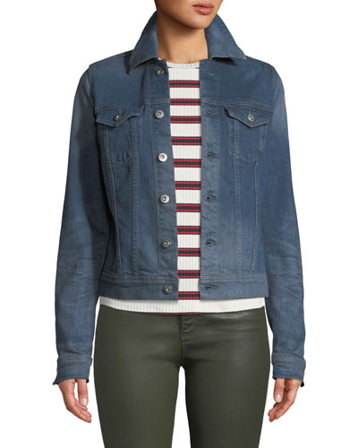 Robyn Button-Front Denim Trucker Jacket