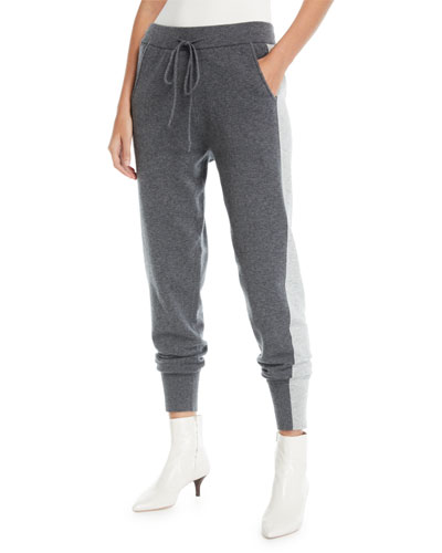 Knit Wool-Blend Sweatpants w/ Tuxedo Stripes