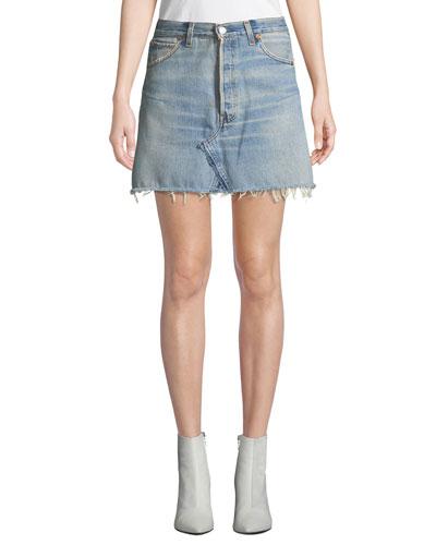 Vintage High-Rise Frayed Denim Mini Skirt