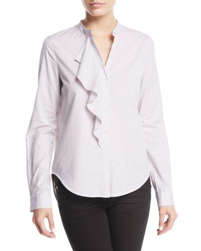 Striped Long-Sleeve Ruffle Button-Front Shirt