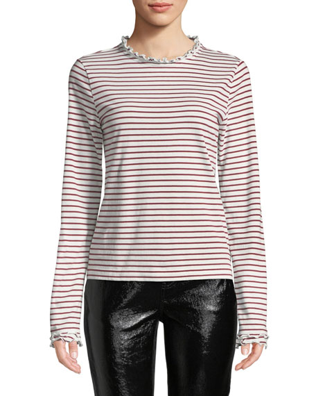 Derek Lam 10 Crosby Striped Long-Sleeve Ruffle Tee