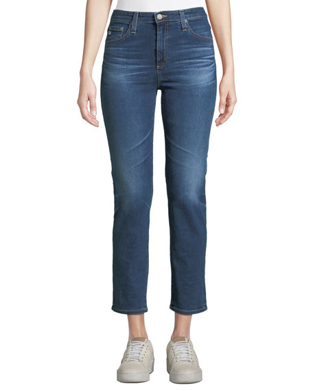 AG Adriano Goldschmied Isabelle High-Rise Cropped Straight-Leg