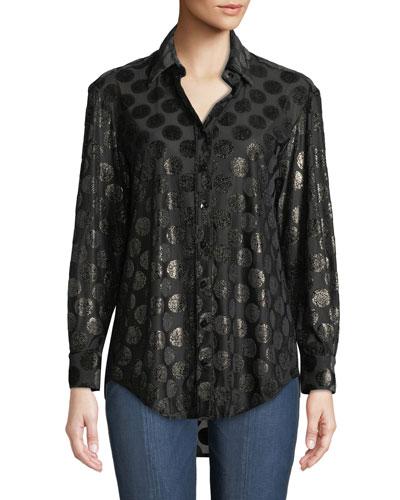 Monica Long-Sleeve Luxe Polka-Dot Shirt