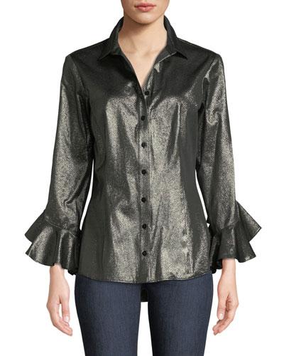 Carmella Gold Rush Ruffle-Sleeve Shirt