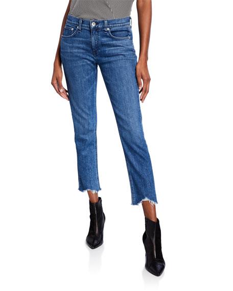 Dre Slim-Fit Mid-Rise Raw Hem Medium Wash Jeans, Medium Blue