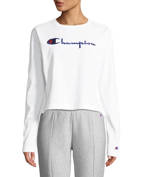 Europe White Logo Crop Crewneck Modesens Top Sleeve Long Champion 0dqwEa0