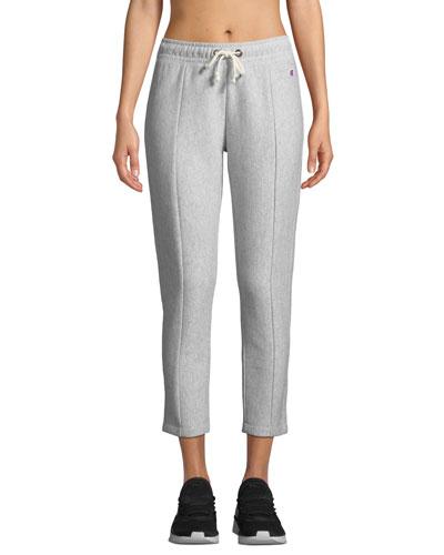 Straight-Leg Cropped Drawstring Sweatpants