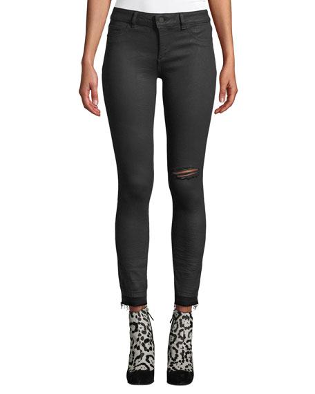 DL PREMIUM DENIM Margaux Instasculpt Ankle Skinny Jeans With Raw Hem in Black