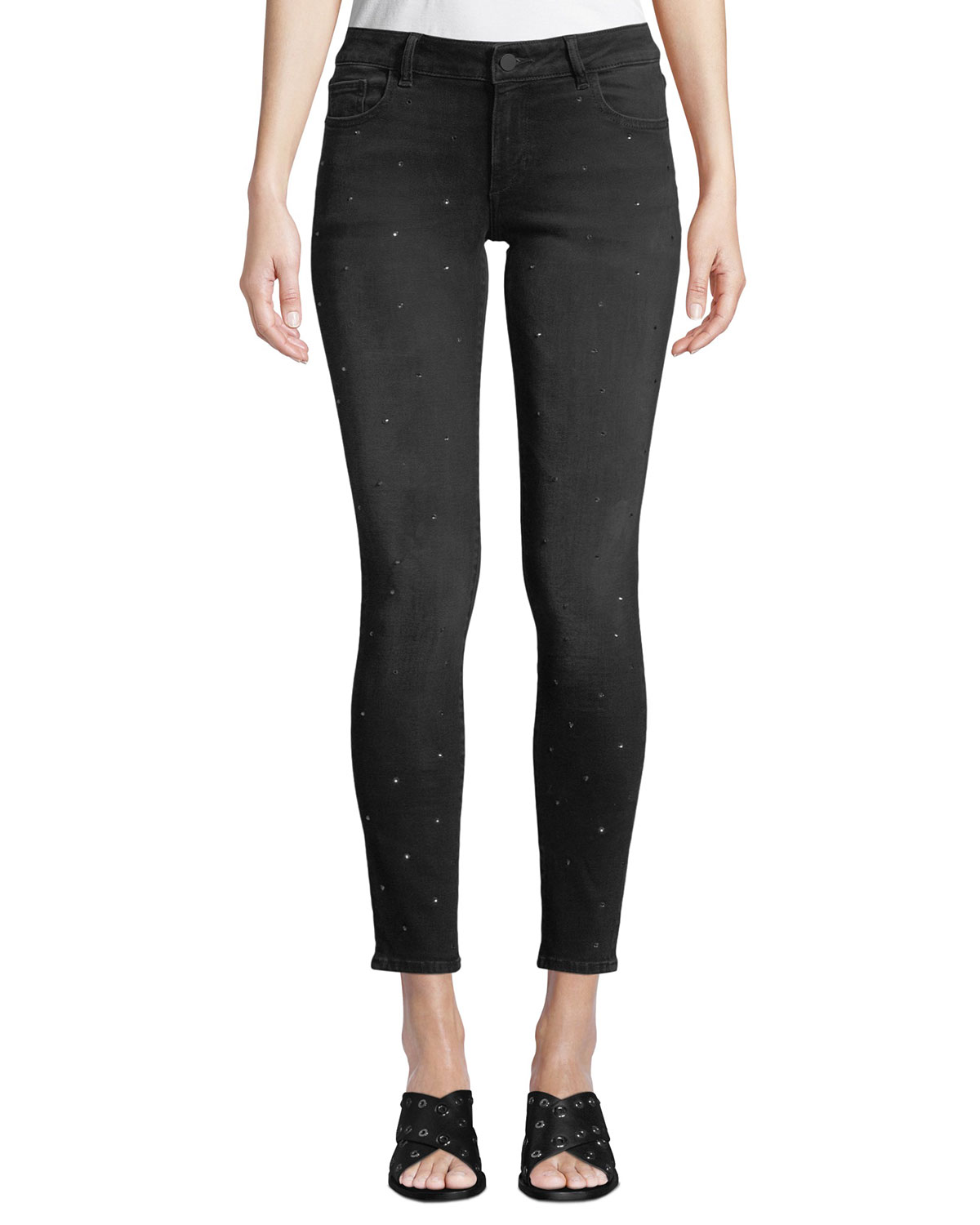 347419357a DL1961 Premium DenimEmma Low-Rise Skinny Ankle Jeans with Rhinestones