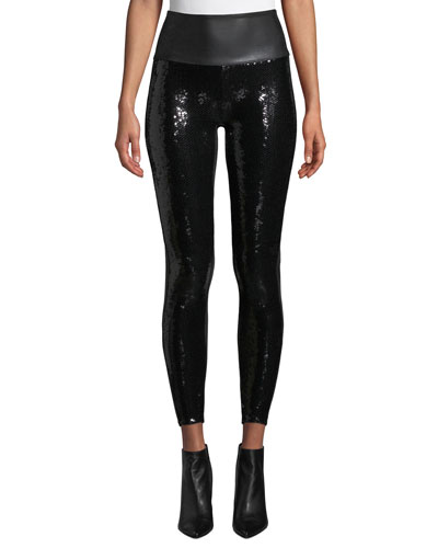Faux-Leather Sequin High-Rise Leggings