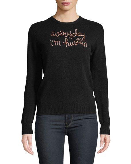 LINGUA FRANCA Everyday I'M Hustlin Embroidered Cashmere Sweater in Black
